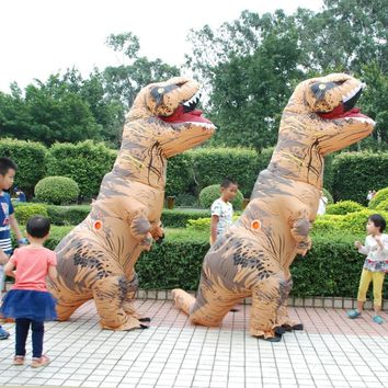 Cool Adult  T-REX Inflatable Costume Christmas Cosplay Dinosaur Animal Jumpsuit Halloween Costume for Women MenAT_93_12