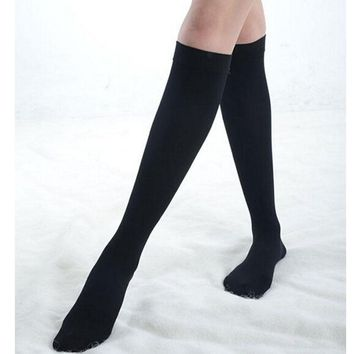 Black Cotton Knee Thigh Socks - Women High Socks