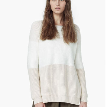 White Apricot Long Sleeve Side Slit Sweater