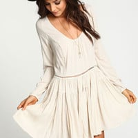 SAND PLEATED TIERED CREPE DRESS