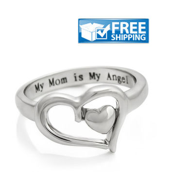 "Mother Gift - Heart Mom Ring Engraved on Inside with ""My Mom is My Angel"", Sizes 6 to 9"