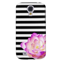 Pink and White Flower w/Stripes Case Galaxy S4 Cover