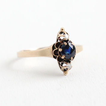 Antique Victorian 10k Rose Gold Sapphire and Diamond Ring- Size 8 Late 1800s Navette Fine Jewelry