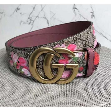 Gucci Print Floral Belt Flower Belt Women Men Belt A-GFPDPF Red Floral