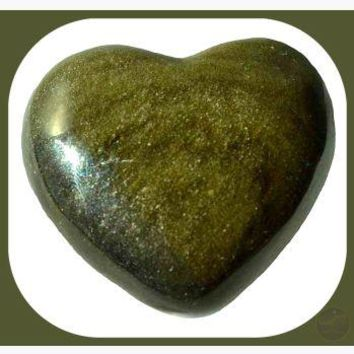 """Wizard Stone"" Golden Obsidian Heart"