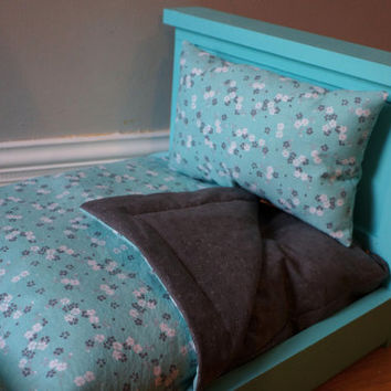 Teal & White Floral With Dark Gray Floral American Girl Doll Bedding Set