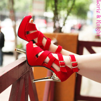 Ladies Strappy Bandage Peep Toe Gladiator Stiletto High Heels Sexy Black Red Platform Sandals Shoes