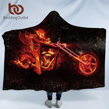 BeddingOutlet Skull Collection Hooded Blanket for Adults Flame Motorcycle Sherpa Fleece Wearable Blanket
