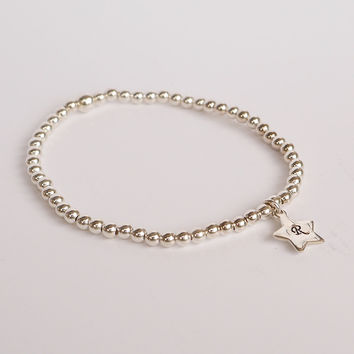 Sterling Beaded Bracelet with Star Tag