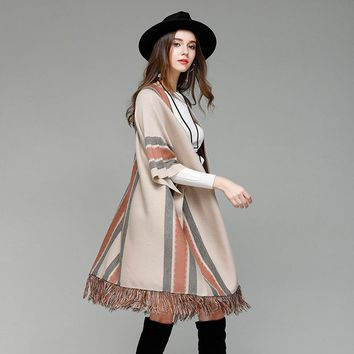 Hoffen 2017 Autumn Winter Long Loose Knitted Poncho Capes Batwing Sleeve Striped Shawl Cloak Cardigans Tassel Sweater Outwear