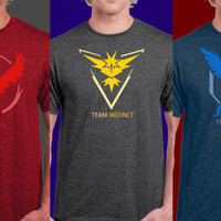 Pokemon Go Team Valor Team Mystic Team Instinct Pokeball nerd Heather Tee shirt