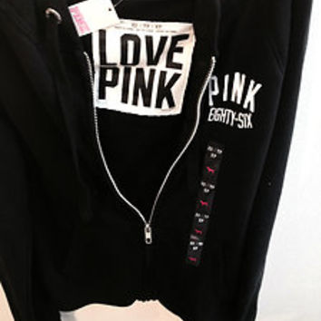 VICTORIA'S SECRET LOVE PINK EIGHTY-SIX PERFECT HOODIE ZIP UP JACKET SIZE XS NEW!