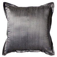 Pillow, Dupion Gunmetal Euro, Decorative Pillows