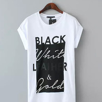 Black and White Letter Print Short Sleeve Graphic Tee