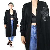 1980s Sequin Sweater Coat  Long Black Cardigan Slouchy Sequin Cardigan Applique Floral Embroidered Sweater Open Front Winter Jumper (M/L)