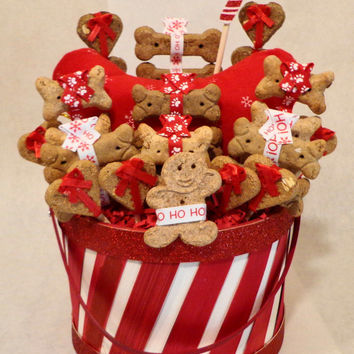 Red and white paw print Christmas Dog biscuit treat basket, unique gift, custom, personalized, holiday, toy