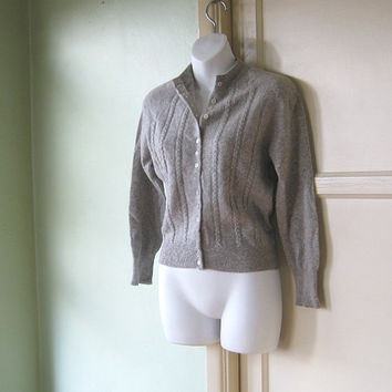 Cabled Vintage Heather-Grey Cardigan - 1960s High Neck/Varsity Sleeve Cardi - Preppy Medium Cardigan Preppie