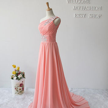 One-Shoulder  Prom Dress / Long Bridesmaid Dresses / Cheap dress/ Long Chiffon Dress/Long prom Dress/long Evening/Party Dress