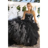 White Embroidery Strapless Black Organza Wedding Dress - Star Bridal Apparel