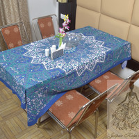 Indian Cotton Table Cloth Blue Color Mandala Star Print Table Cover Tapestry Wall Hanging TC69