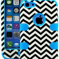"""myLife Electric Blue + Black Chevron 3 Layer (Hybrid Flex Gel) Grip Case for New Apple iPhone 5C Touch Phone (External 2 Piece Full Body Defender Armor Rubberized Shell + Internal Gel Fit Silicone Flex Protector) """"Attention: This case comes grip easy smoot"""