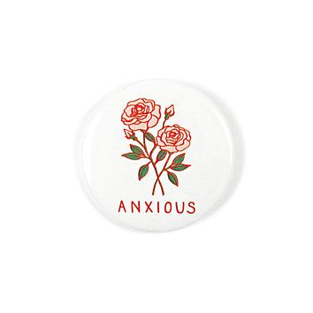 Anxious Floral Big Pinback Button