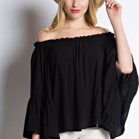 Bell Sleeve Off Shoulder Ruffle Top