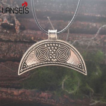 lanseis 1pcs norse Slavic Lunula Woman's Necklace Antique Silver LUNULA, viking necklace for women jewelry