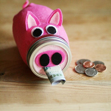 Mason Jar Bank - Whimsical Pig- Piggy Bank - Savings Jar - Mason Jar - Pink Pig - Kids Gift - Pig Decor - Baby Room