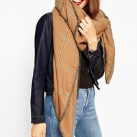 ASOS Oversized Square Scarf In Grid Check & Blanket Stitch