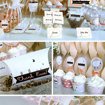 Little Lamb Baby Shower Printable Party Package Decorations, Sheep Baby Shower Decoration Printable Package Kit, Baby Lamb, Instant Download