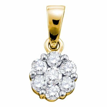 14kt Yellow Gold Women's Round Diamond Flower Cluster Pendant 1.00 Cttw - FREE Shipping (US/CAN)
