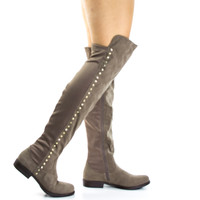 Montana71s by Bamboo, Taupe Suede Faux Suede Elastic Equestrian Riding Boots w Metal Stud Detail
