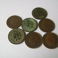 Indian Head Penny Collection for Sale including 7 antique US Once Cent including years 1880,1890,1892,1903,1905,1906,1907 Nice Coins