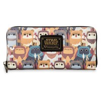 Licensed cool Disney Store Star Wars Ewok Zip Wallet by Loungefly Faux Leather Accordion Fold