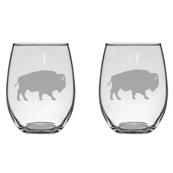 Buffalo Engraved Glasses, Bison, Animal Free Personalization