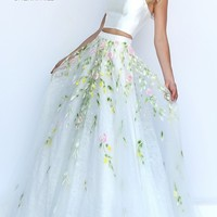 Ivory Two Piece Halter Floor Length Prom Dress with Lace Detailing by Sherri Hill