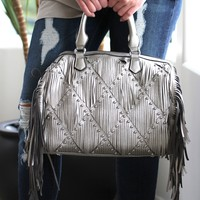 Fringe Front Purse with Studs