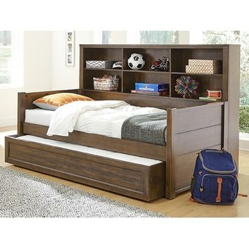 My Home Logan Bookcase Bed In Driftwood Grey