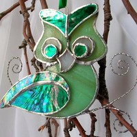 Gorgeous Green Iridescent Stained Glass Owl by Glasserie on Etsy