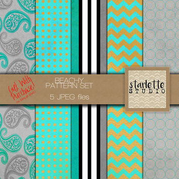 Beachy Aqua & Gold Digital Paper 5 pack