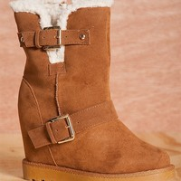 Natures Breeze Cozy Up Brooks-02 Shearling Lined Hidden Wedge Faux Suede Booties - Tan