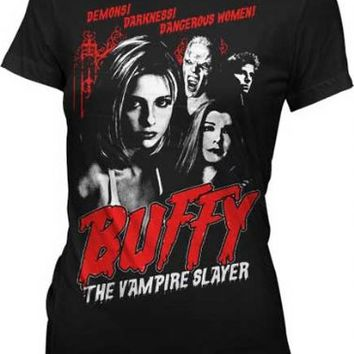 Buffy the Vampire Slayer Cult Poster Black Juniors T-shirt