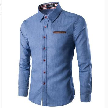 Button Downs Pocket Denim Jeans Men's Long Sleeve Polo Shirts