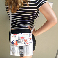 Small Messenger Bag - made by me with Paris print fabric and navy ticking fabric - crossover purse