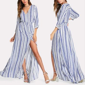*Online Exclusive* 3/4 Sleeve Maxi Dress with Stripes