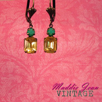 Jennifer ~ Vintage Rhinestone Dangle Earrings - West German Citrine Yellow Glass - Opaque Green Stone - Aged Brass - Maddie Jean Vintage