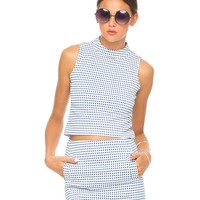 Motel Annie Leigh Check Mini Skirt in Blue and White