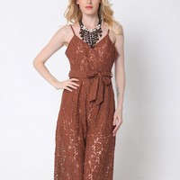 Women Sexy Lace Bowknot Wide Leg Camisole Backless V-neck Jumpsuit