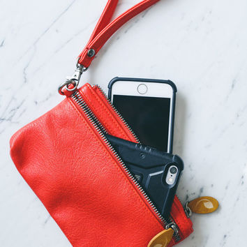wristlet wallet | orange purse | iphone purse | vegan gift | vegan clutch purse | orange handbag | vegan phone case | faux leather purse